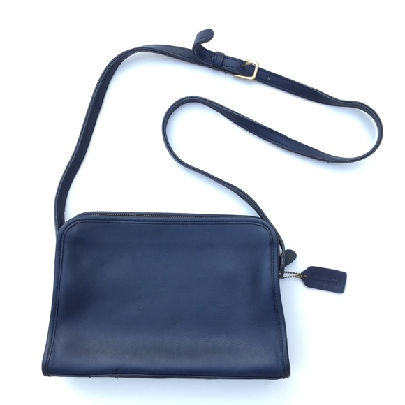 Vintage Coach Leather Crossbody Bag Blue